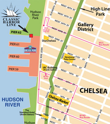 Clic Harbor Line Locations in NYC - Chelsea Piers & North Cove on